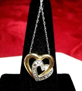 """10K TWO TONE GOLD DOUBLE HEART DIAMOND PENDANT NECKLACE WITH CHAIN 20"""" LONG"""