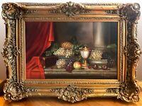 R. Bernard Still Life Of Fruit original Oil on Canvas With Gold Leaf Frame