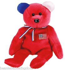 """TY Beanie Babie Baby * AMERICA RED * With Blue Right Ear 9"""" Tall 04412"""