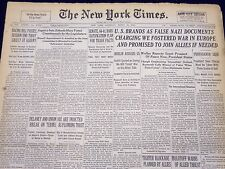 1940 MAR 30 NEW YORK TIMES NEWSPAPER - U. S. BRANDS FALSE NAZI DOCUMENTS - NT 33