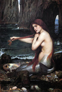 John William Waterhouse Mermaid Vintage Wall Art Poster Print Picture Giclee