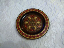 Hand Painted Decorative Ornate Floral Wood Plate Dish