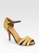 JOIE NIB $175 Beige Black Laurel Raffia Leather Pump Heels Sandals Sz 37.5 /7.5