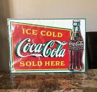 Vintage 1989 New Still in Plastic Cover Coca cola metal sign