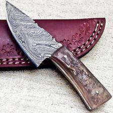 """NEW CUSTOM HANDMADE DAMASCUS 5.50"""" MINI HUNTING KNIFE RAM HORN HANDLE - UT-3634"""