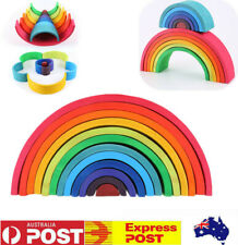 12PCS Wooden Rainbow Building Stacking Blocks Nesting Toys Gift for Baby Toddler