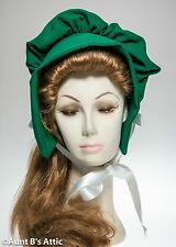 Pioneer Bonnet Ladies Green Prairie Poke Bonnet Costume Headpiece One Size