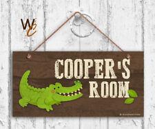 Alligator Sign, Woodland Personalized Sign,Kid's Name, Kids Door Sign, 5x10 Sign