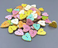 100pcs Natural wood color Wooden Sewing Scrapbooking Button Heart Polka Dot 18mm