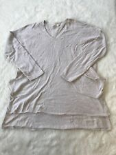 Ladies Eileen Fisher Oatmeal V Neck Long Sleeve Boxy Sweater Size XS