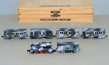 N Scale Steam Loco & 5 Passenger Cars Custom Detailed Set in WWII Winter Camo