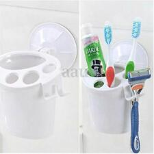 White Suction Cup Bathroom Wall Toothpaste Organizer Toothbrush Storage Holder