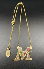 Michal Negrin Romantic colorful Swarovsky Crystals necklace letter M Gold plated