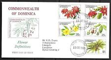 1981   DOMINICA  -  SG. 766 / 769 / 771 / 772 / 778  FLOWERS ON FDC  -  USED