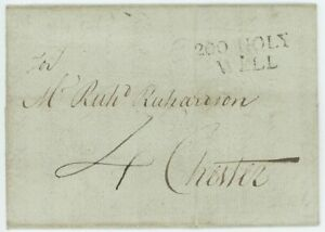 """Wales - 1786 entire letter to Chester with scarce """"200 HOLY/ WELL"""" mileage h/s"""