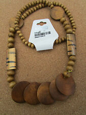 """A LARGE CHUNKY WOODEN BEAD & DISC NECKLACE. 32"""" + EARRINGS & BRACELET."""