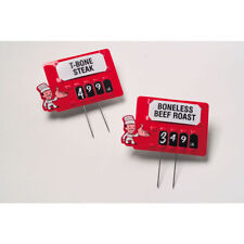 """Meat Price Tag Kit With Pins Red Plastic Butcher - 3 3/4""""L x 2 3/8""""H"""