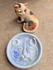 Vintage Calico Cat Figurine + Unique One Of A Kind Cat Face Pottery Dish Bowl