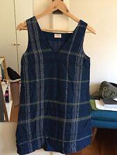 Gorman navy atlantis dress embroidered linen blend A-Line size 8