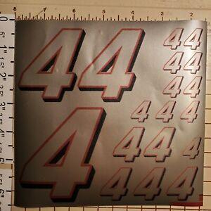 Silver w/Red & Black #4's  Racing Numbers Vinyl Sheet 1/10-1/12 NOT CUT