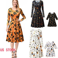 US Halloween Mommy and Me Family Matching Dress Mother Daughter Women Dresses