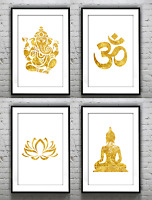 Yoga Lotus Flower Gold Foil Print Vintage Foil Rose Gold Wall Art