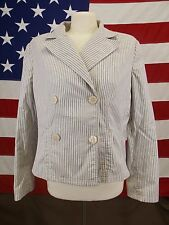 Ann Taylor Suit Jacket & Pants Slacks White With Blue Pin Stripes Women's  12
