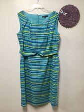 Womens sleeveless dress size 16 blue multi zip back faux belt Preston & York 176