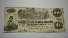 $100 1862 Richmond Virginia VA Confederate Currency Bank Note Bill RARE T39 VF++