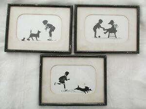 3 Vintage Framed Silhouette s Girl Boy Dog Cat Signed JJ
