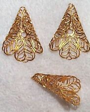 VINTAGE DRAMATIC FINE FILIGREE BRASS CONE STAMPINGS  8 PCS FOR JEWELRY DESIGN