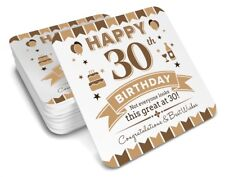 30th  Birthday 1988 Happy Present Gift Idea For Men Him Male Keepsake Coaster