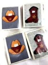 Lot Of 4 Cowboy Boots and Hat Gift Giver Kit Ornament Gift Card Money Holder