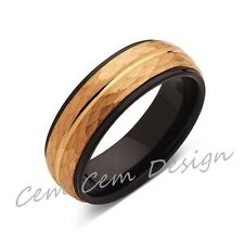 8mm,Hammered,Yellow Gold,Unique,Black and Yellow Tungsten Ring,Men's Wedding Ban