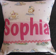 BABY GIRLS BOYS PERSONALISED CHRISTENING NAMED PILLOW CUSHION COVER GIFT
