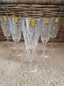 Vintage VMC Reims 6 Lovely Vintage French Lead Crystal Champagne Flutes Glasses