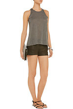 Haute Hippie Leather Shorts in  Military Army Green $495 size 8