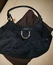 authentic gucci black leather hobo handbag