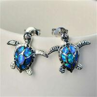 Popular 925 Silver Cute Turtle Fire Opal Stone Ear Studs Earrings Jewelry Gift