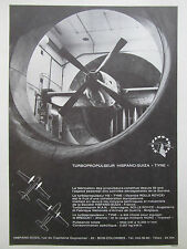 1966 PUB HISPANO-SUIZA SOUFFLERIE TURBOPROPULSEUR TYNE TRANSALL FRENCH AD