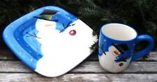 "Set of 6 Sakura ""Cherry Snowman"" Earthenware Plates & Mugs - NEW -Retail $168.00"