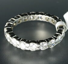 Platinum Large Round Diamond Full Eternity Stackable Band Guard Stack Ring 5.5