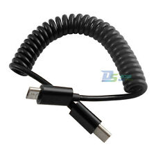 1m 3ft USB3.1 Type-C Male to USB3.1 C Male Sync Data Adapter Spring Coiled Cable