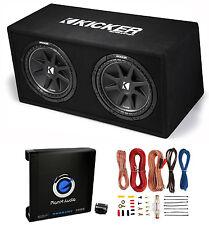 "Kicker Dc122 Dual 12"" 600W Loaded Car Subwoofers +Box + 1500W Mono Amp + Amp Kit"