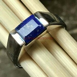 Natural Lapis Lazuli Gemstone with 925 Sterling Silver Ring for Men's EG1084