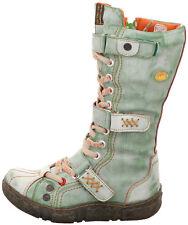 TMA Leder Winterstiefel Damenschuhe Boots Stiefeletten Fell Neu Grün 7086