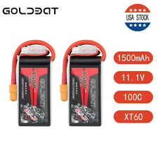 2X GOLDBAT 1500mAh 100C 11.1V 3S LiPo Battery XT60 Plug for RC Drone FPV Car