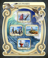 Chad Lighthouses Stamps 2017 MNH Petit Minou Lighthouse Puffins Ships 4v M/S