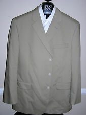 $350 New Jos A Bank natural stretch Poplin 3 button suit in Solid Tan 36 R 30 W