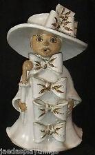"Delfino Pottery Signed Lady Umbrella 10"" Figure * SMALL CHIP * FREE US Ship"